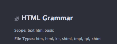 HTML file type in Atom