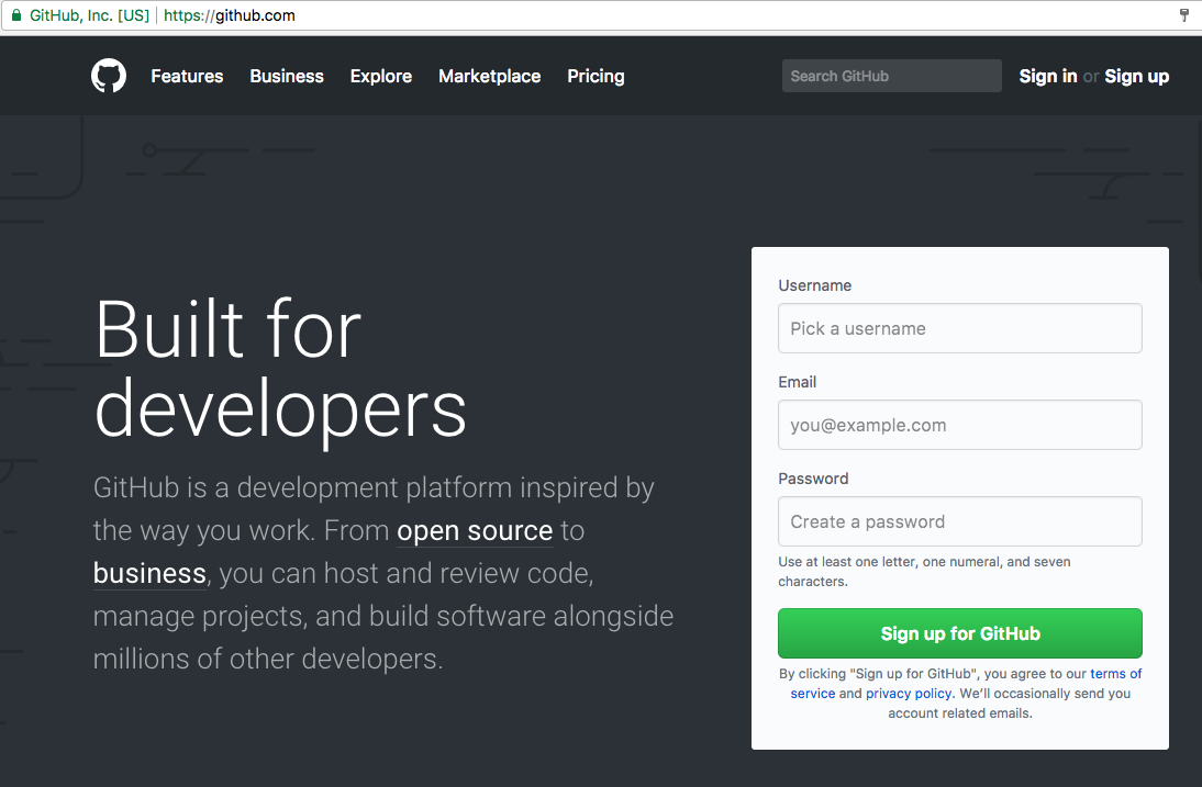 GitHub Front Page