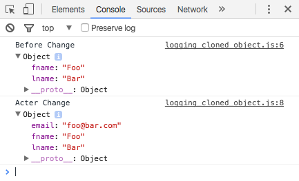 Logging JavaScript cloned object in Chrome