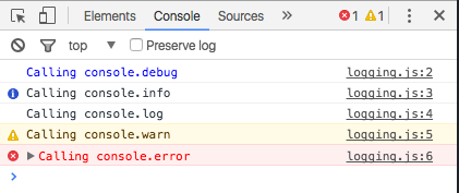 console logging in Chrome