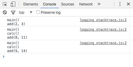 console trace in Chrome